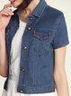 Blue Short Sleeve Jacquard Shirt Collar H-line Coat