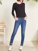 Blue Casual  Embroidered  Zipper Jean