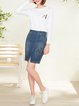 Blue Pockets Casual Denim Mini Skirt