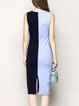 Nylon Color-block Sleeveless Simple V Neck Midi Dress