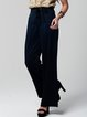 Navy Blue Solid Simple Pockets Satin Wide Leg Pants