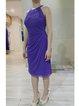 Purple Crew Neck Evening Plain Ruched Mini Dress