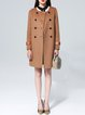 Coffee Casual Buttoned Wool Blend Trench Coat