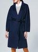 Wool Blend Casual Solid Lapel Coat