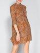 Orange Stand Collar Bell Sleeve A-line Floral-print Mini Dress