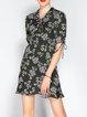 Casual Short Sleeve Floral-print V Neck Mini Dress