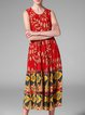 Red Sleeveless A-line Floral-print Midi Dress