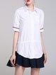 White Cotton Solid Color-block Casual Mini Dress