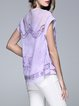 Two Piece Embroidered Floral Short Sleeve Cotton-blend Blouse