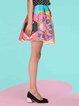 Multicolor Casual A-line Graphic Jacquard Mini Skirt