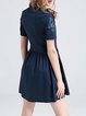 Cotton Vintage Short Sleeve Shirt Collar Embroidered Mini Dress