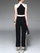 Black Sleeveless Color-block Cutout Simple  Jumpsuit