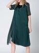 Crew Neck A-line Simple Short Sleeve Silk Midi Dress