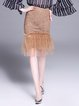 Coffee Casual Lace Midi Skirt