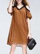 Striped Cutout Cold Shoulder Midi Dress