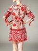 Red Half Sleeve Tribal Printed Tassel Mini Dress