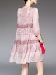 Pink 3/4 Sleeve Beaded Embroidered Deep V Neck A-line Midi Dress With Camis