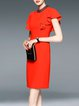 Orange Beaded Frill Sleeve Keyhole Solid Elegant Sheath Midi Dress