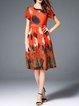 Orange Keyhole Printed Casual A-line Silk-blend Midi Dress