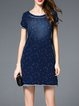Dark Blue Printed A-line Short Sleeve Cotton-blend Mini Dress