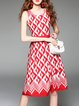 Red Crew Neck Sleeveless A-line Printed Casual Midi Dress
