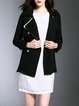 Black Lapel Solid Long Sleeve Buttoned Coat