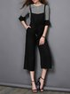 Black Two Piece Stripes Spaghetti Bell Sleeve Casual Jumpsuit