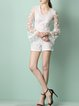 White Frill Sleeve Floral Appliqued V Neck Embroidered Romper