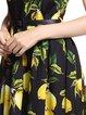 Black Lemon Printed Sleeveless Vintage Cotton-blend Fit and Flare Midi Dress