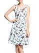 Vintage Square Neck Spaghetti Bird Print Cotton-blend Midi Dress