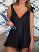 Black Linen V Neck Sleeveless Romper