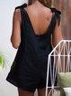 Black Linen V Neck Sleeveless Romper