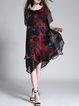 Vintage Style Asymmetrical Printed Shorts Sleeve Midi Dress