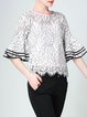 Frill Sleeve Floral Casual Crew Neck Blouse With Cami