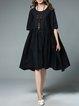 Plus Size Folds Cotton Swing Half Sleeve Casual Midi Dress