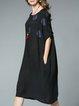 Plus Size Black Printed Shorts Sleeve Cocoon Midi Dress
