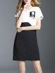 Black-white Stripes Short Sleeve H-line Mini Dress
