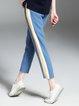 Blue Color-block Casual Stripes Straight Leg Pants