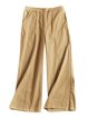 Cotton Casual Buttoned Solid Straight Leg Pants