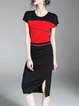 Split Batwing Color-block H-line Midi Dress