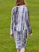Blue Long Sleeve Ombre/Tie-Dye Crew Neck Midi Dress