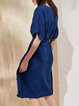Dark Blue Crew Neck Batwing Midi Dress