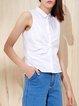 Gathered Shirt Collar Cotton Sleeveless Blouse