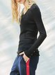 Sheath Solid Long Sleeve Knitted Casual Long Sleeved Top