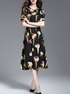 Black Cutout Cold Shoulder Print A-line Midi Dress