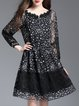Black Star Printed Guipure Casual Chiffon Dress