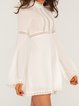 White Solid Bell Sleeve Stand Collar Holiday Dress