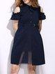 Navy Blue Paneled Cold Shoulder A-line Stripes Mini Dress