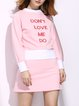 Pink Embroidered Cotton Casual Letter 3/4 Sleeve Mini Dress