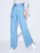 Light Blue Casual Wide Leg Pants